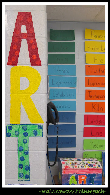 photo of: Art Room Wall and Vocabulary Words (Art Room RoundUP via RainbowsWithinReach)