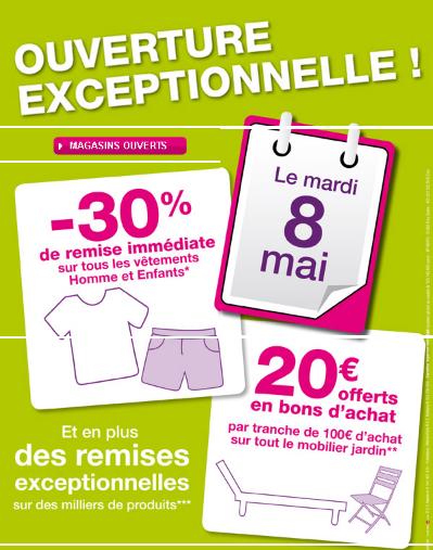 Carrefour: le 8 mai -30% de remise immédiate sur les vêtements et bons d'achat sur tout le mobilier jardin  Mademoiselle bons plans