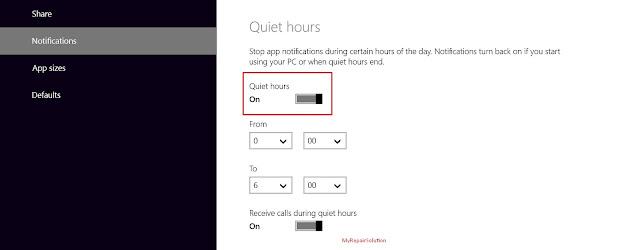 aktifkan fitur quiet hours di win 8.1