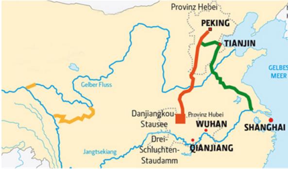 I tre canali che porteranno acqua nella capitale cinese Pechino