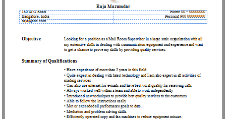 Mail clerk resume example sample