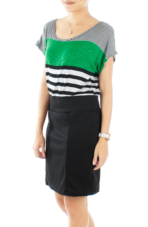 Green Irregular Stripe Dress with Black Skirt