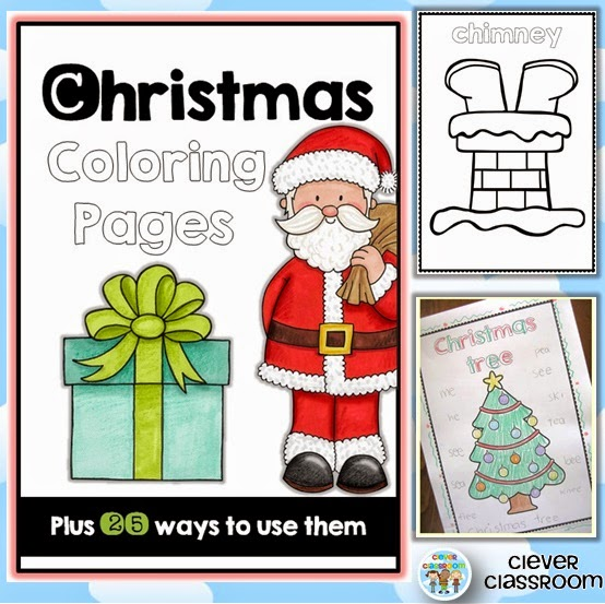 Christmas coloring and 25 literacy ideas to use with them.