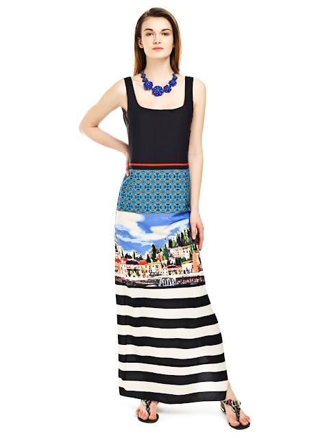 askılı desenli uzun elbise, yazlık elbise