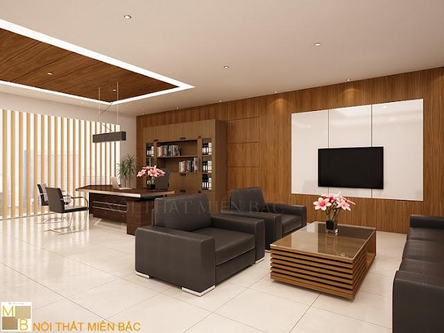 Thiết kế văn phòng giám đốc chất liệu vân gỗ