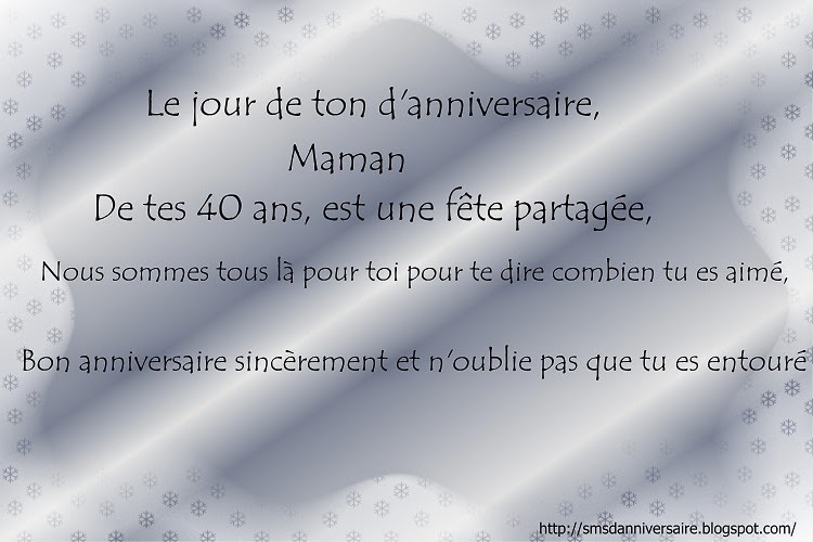 Sms Anniversaire Maman 40 Ans