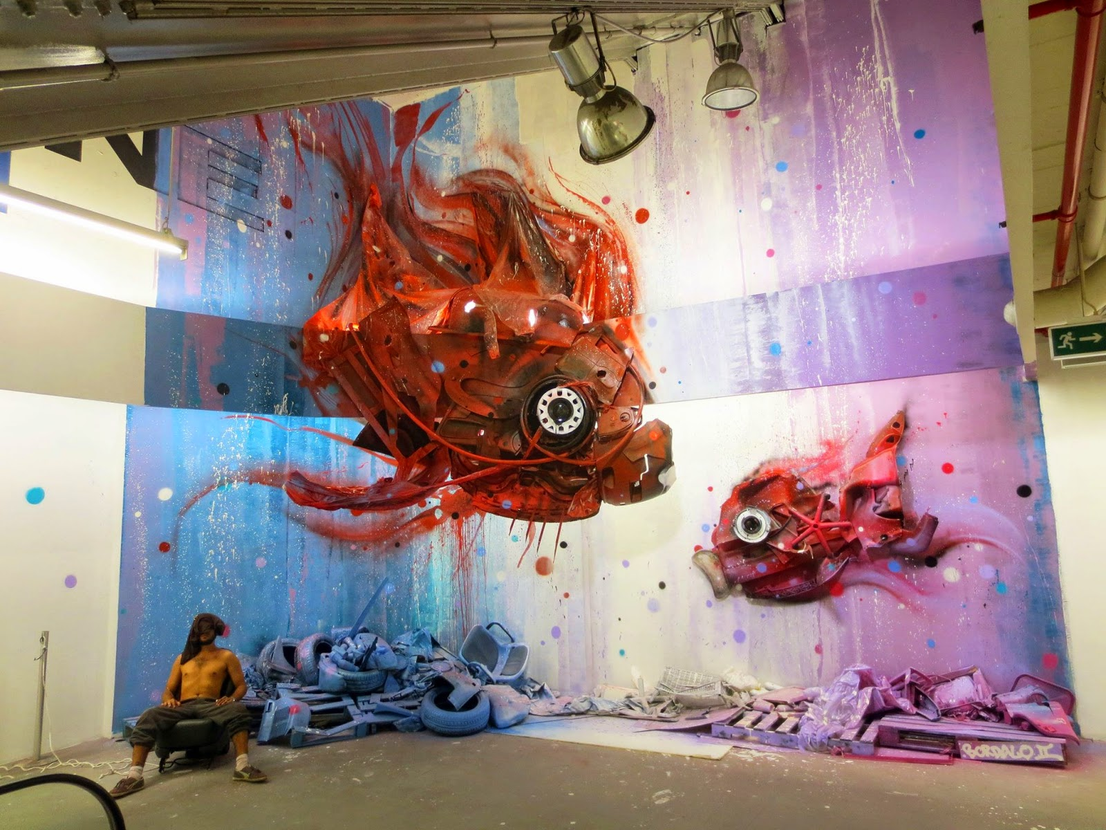Bordalo II just finished working on another surreal indoor installation somewhere in his hometown of  Lisbon, Portugal.