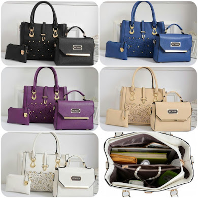 BONIA DESIGNER BAG ( 3 IN 1 SET ) - BLACK , WHITE , KHAKI , PURPLE , BLUE