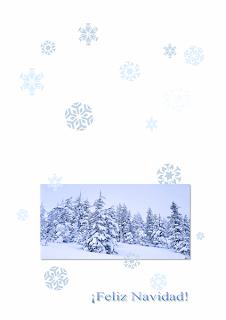 tarjeta de Feliz Navidad con bosque nevado