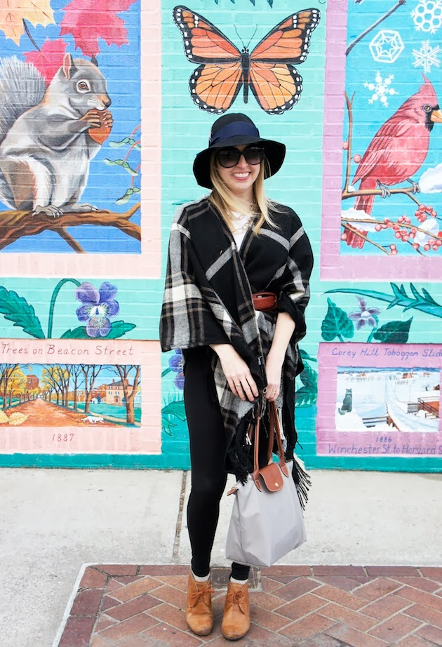 plaid poncho, floppy hat
