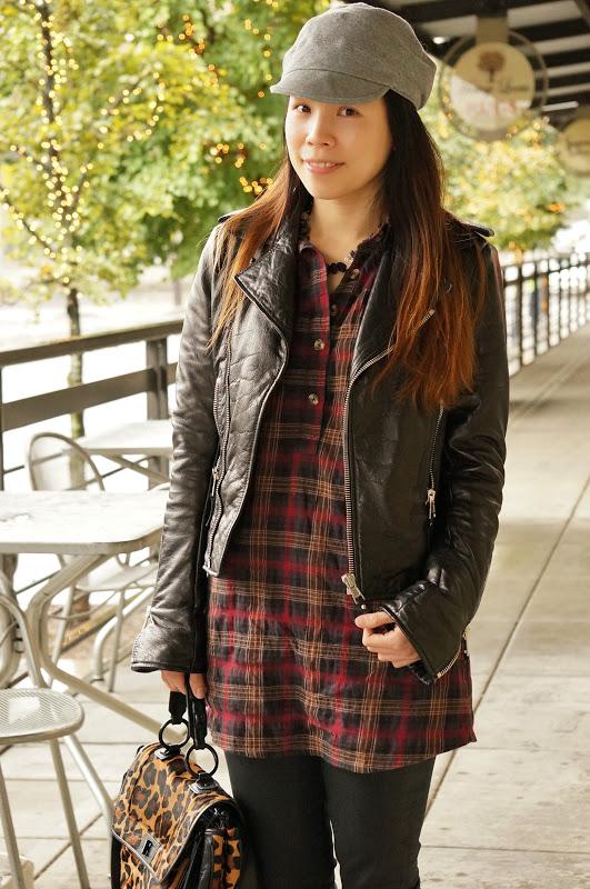 Plaid Shirt With Leather Jacket - My Jacket