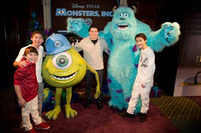 Ryan Ochoa and brothers at Monsters Inc 3D premiere