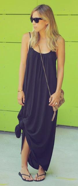 Moda - Maxissaia e vestido preto com nós - tendências verão 2015
