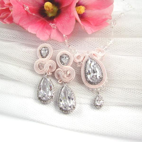 pastelowa biżuteria ślubna sutasz z kryształami Swarovski