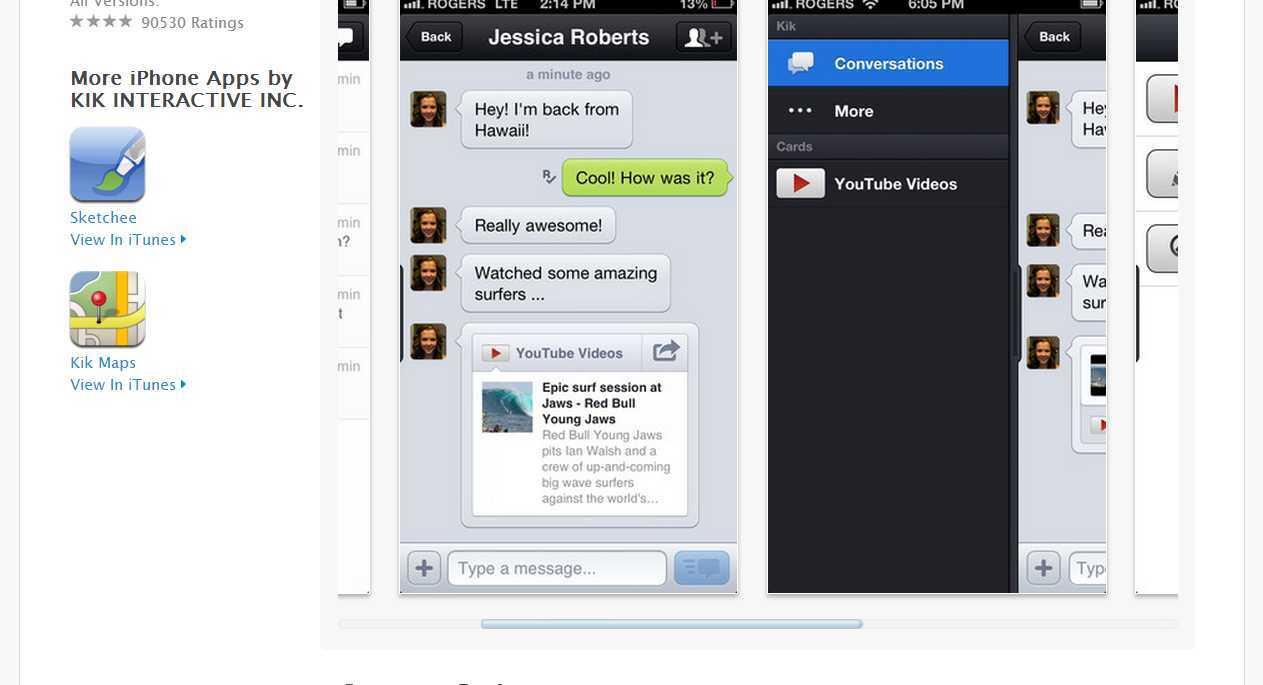 ... web content during a cross platform mobile chat (Kik free mobile app