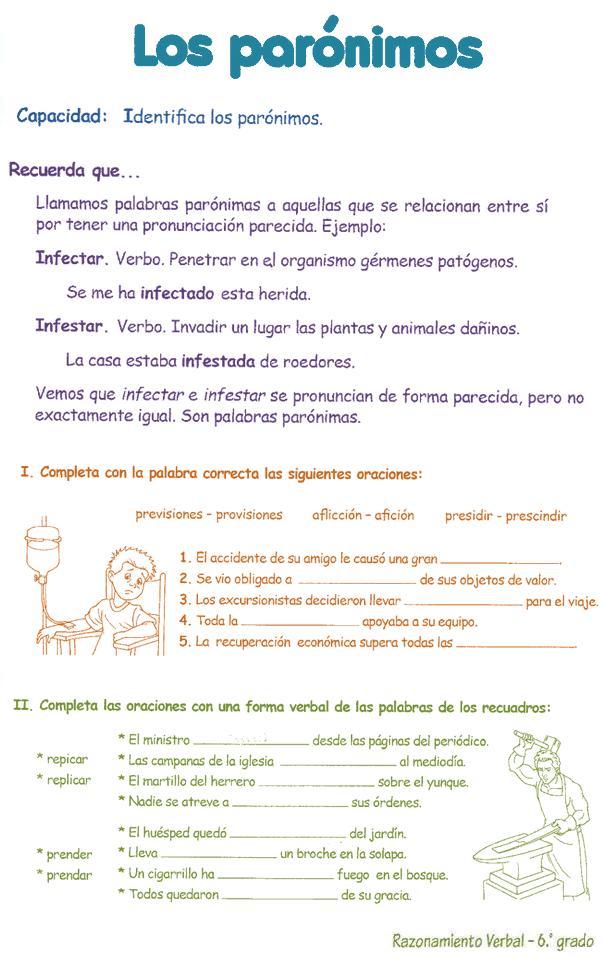 Homónimos y Parónimos para niños 6º | Razonamiento Verbal
