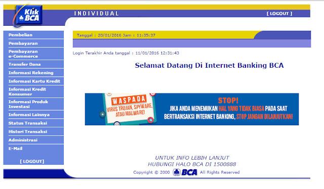 Cara Menggunakan Internet Dan SMS Banking Bank BCA (Bank Central Asia)