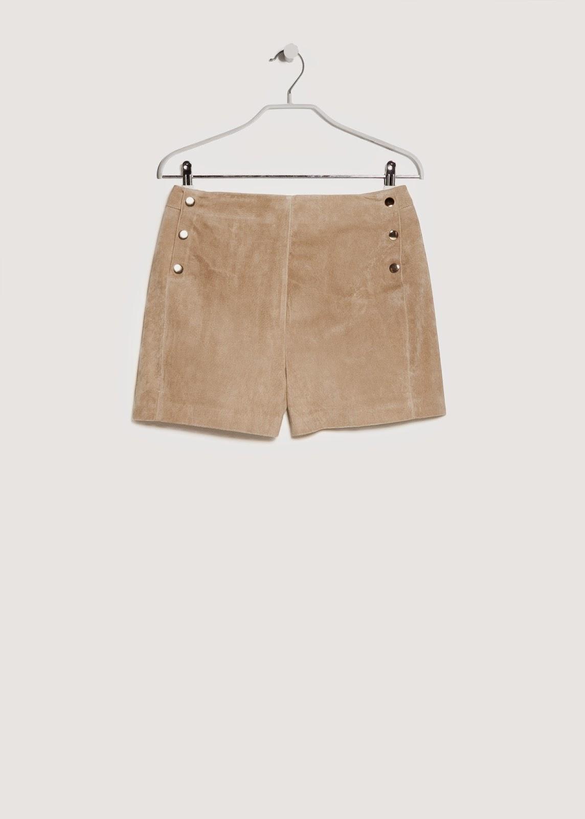 mango suede shorts, beige suede shorts,