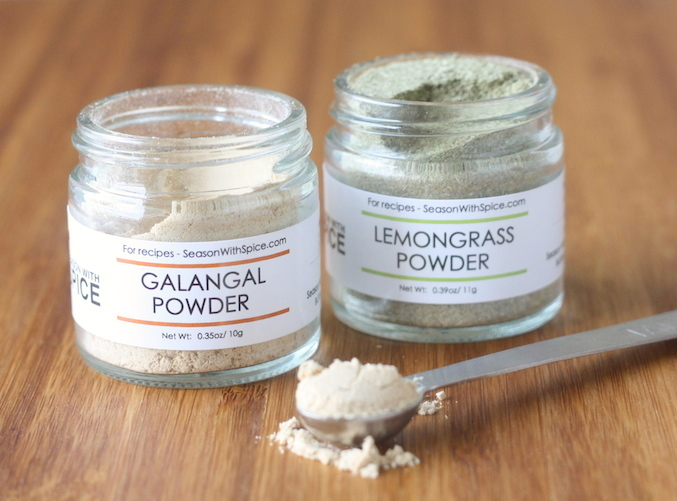 Galangal powder and lemongrass powder available at SeasonWithSpice.com