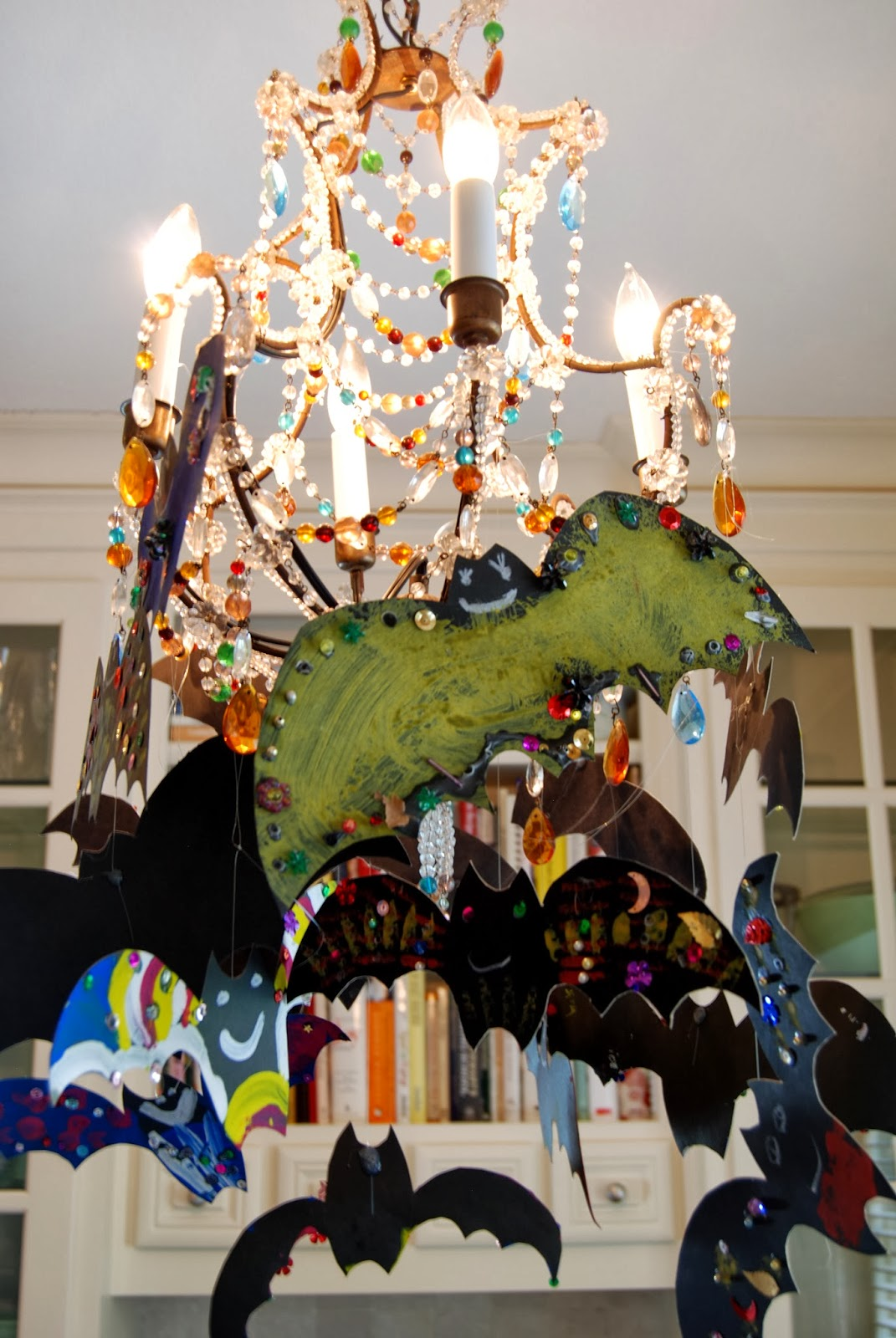 Handmade Bats in a Chandelier for Halloween; DIY