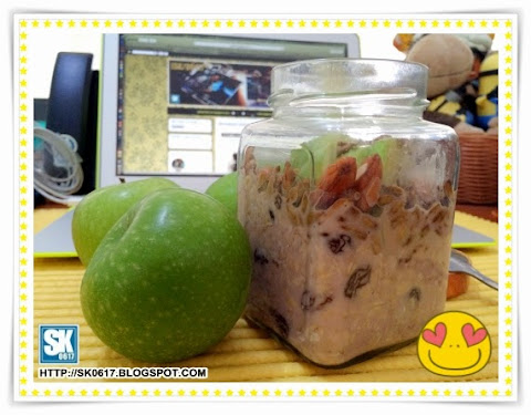 Overnight Oat with Raisins, Sunflower Seeds, Almonds and Green Apple