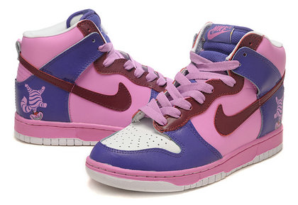 Cheshire Cat Nike SB Dunk High Tops Purple Pink Shoes For Sale , this is  one cheshire cat nike dunks inspired by cheshire cat from Alice in  wonderland .