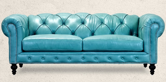 Thinking outside the box chesterfield - Sofa azul turquesa ...