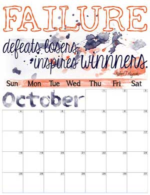 October Inspirational Calendar