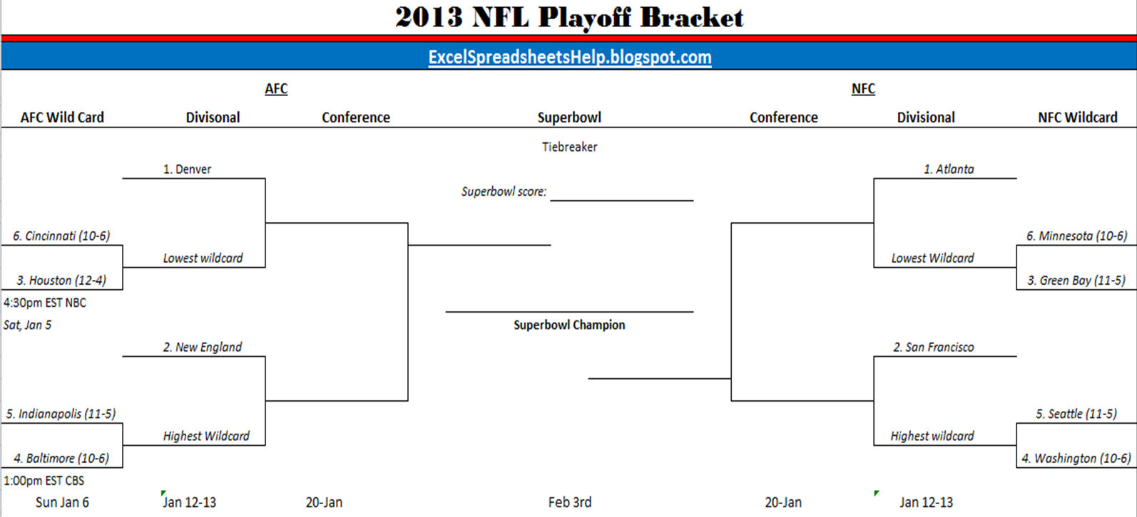 photo about Printable Nfl Playoffs Bracket identify Excel Spreadsheets Support: Printable 2013 NFL Playoff Bracket