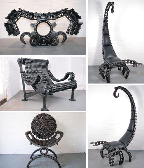 How to recycle recycled scrap metal sculptures for Metal design chair
