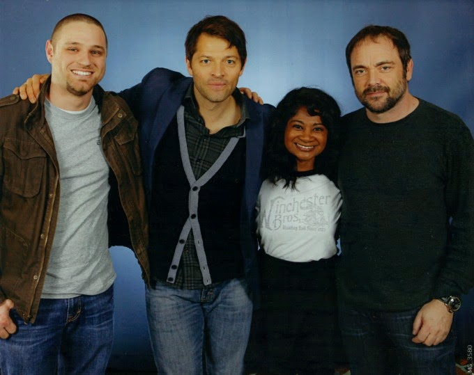 misha collins and matt shephard photo op at supernatural con houston 2015