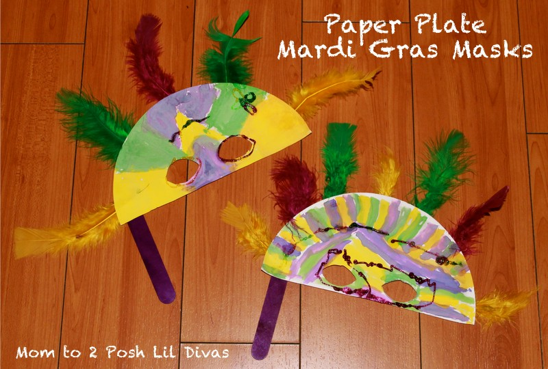 Here are the super easy masks we made for Mardi gras masks crafts