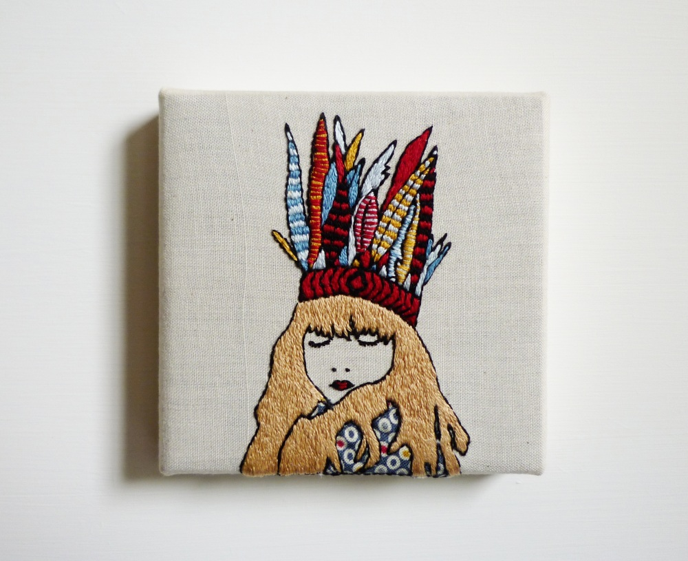 Cheese before bedtime embroidery art by amy dawson the