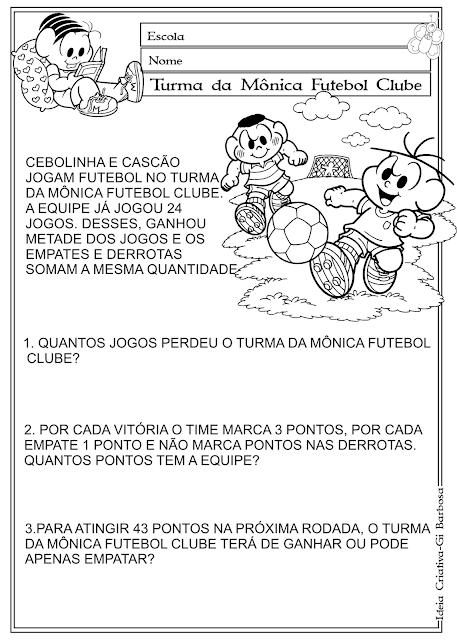 Ficha de Problema 5º Ano Turma da Mônica