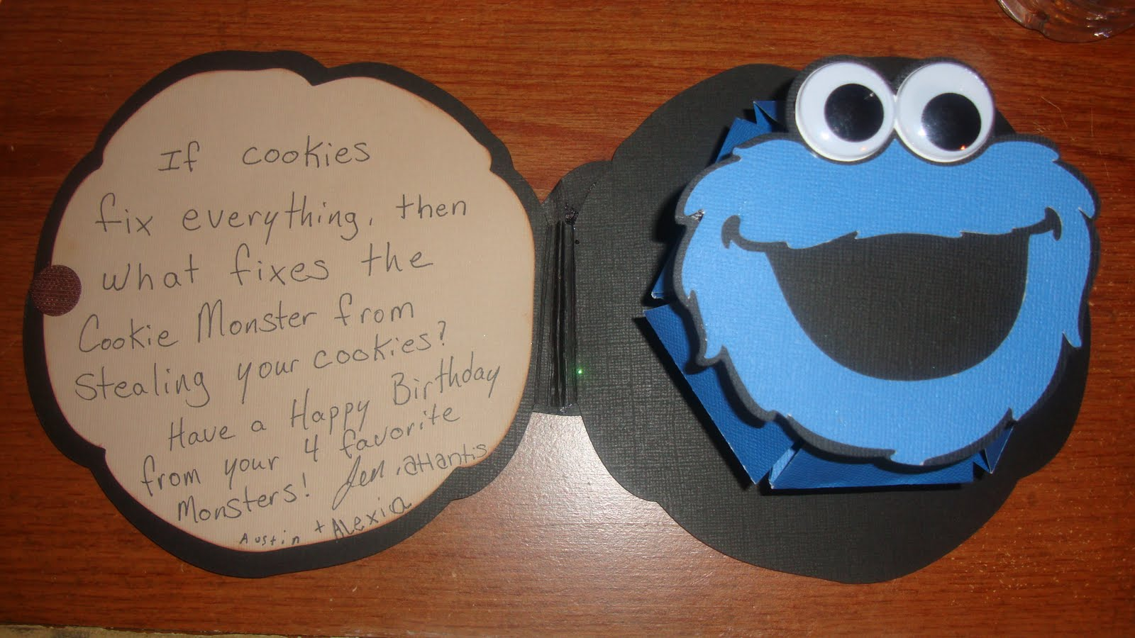 Night cricut cookie monster pop up card i am the cookie monster in my house i am always stealing my husbands cookies from him so i thought this would be a cute card to make for his birthday bookmarktalkfo Choice Image