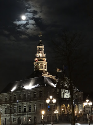 Maastricht Town Hall in the moonlight
