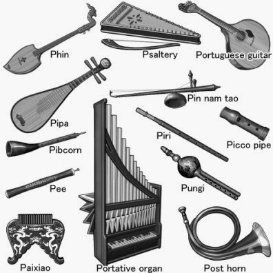 P ... world musical instruments. glayscale picture.