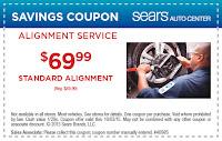 Sears $20 OFF standart wheel alignment plan coupon 2015