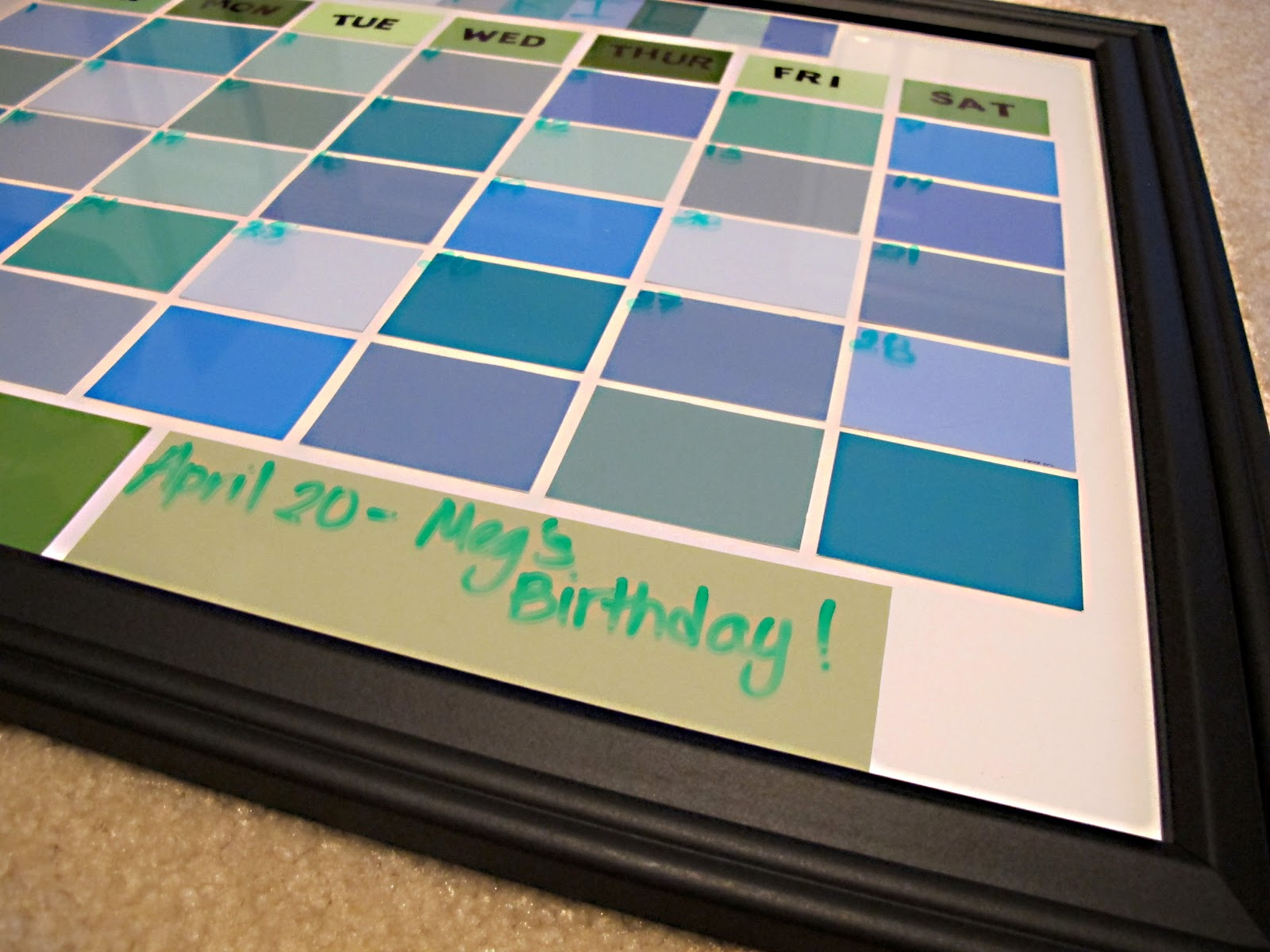 Diy Calendar With Paint Samples : So many sweets diy paint sample dry erase calendar