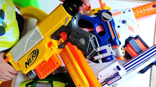 Get a group of friends for a nerf war or a nerf battle and have fun!
