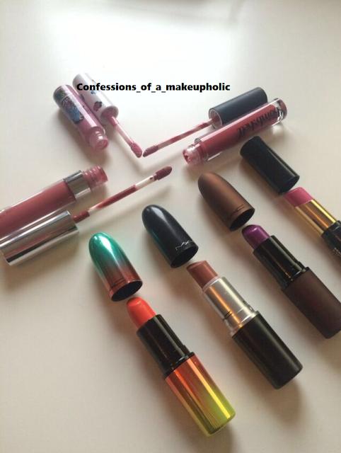 Challenge: 7 lipsticks 7 Days - mac limited edition lipsticks - velvet teddy, morange, feel my pulse, makeup revolution, be a bombshell lipstick, colourpop liquid lipstick in bumble, mac lip glass in English accents.