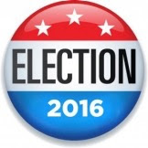 Red white and blue with white stars election button, reading ELECTION 2016