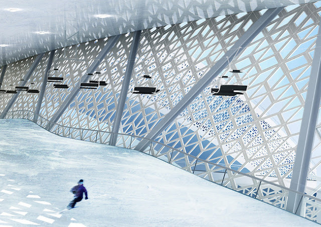 world, biggest, skidome, ski, dome, project, randers, randers city, denmark, creative,  3 km of indoor and outdoor slopes, freestyle park, hotel, restaurant and shops, awesome, design