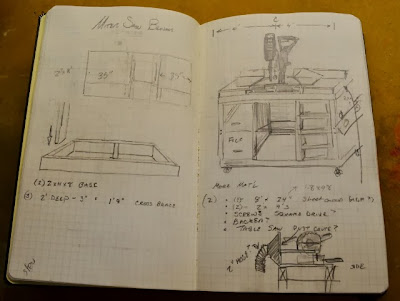 Moleskine Notebook with Miter Saw bench plans