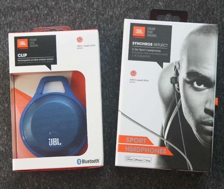 JBL Reflect Sport Headphones JBL Clip Portable Bluetooth Speaker box