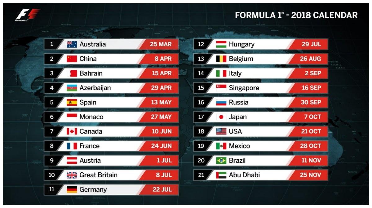 FIA Formula 1 2018 calendar
