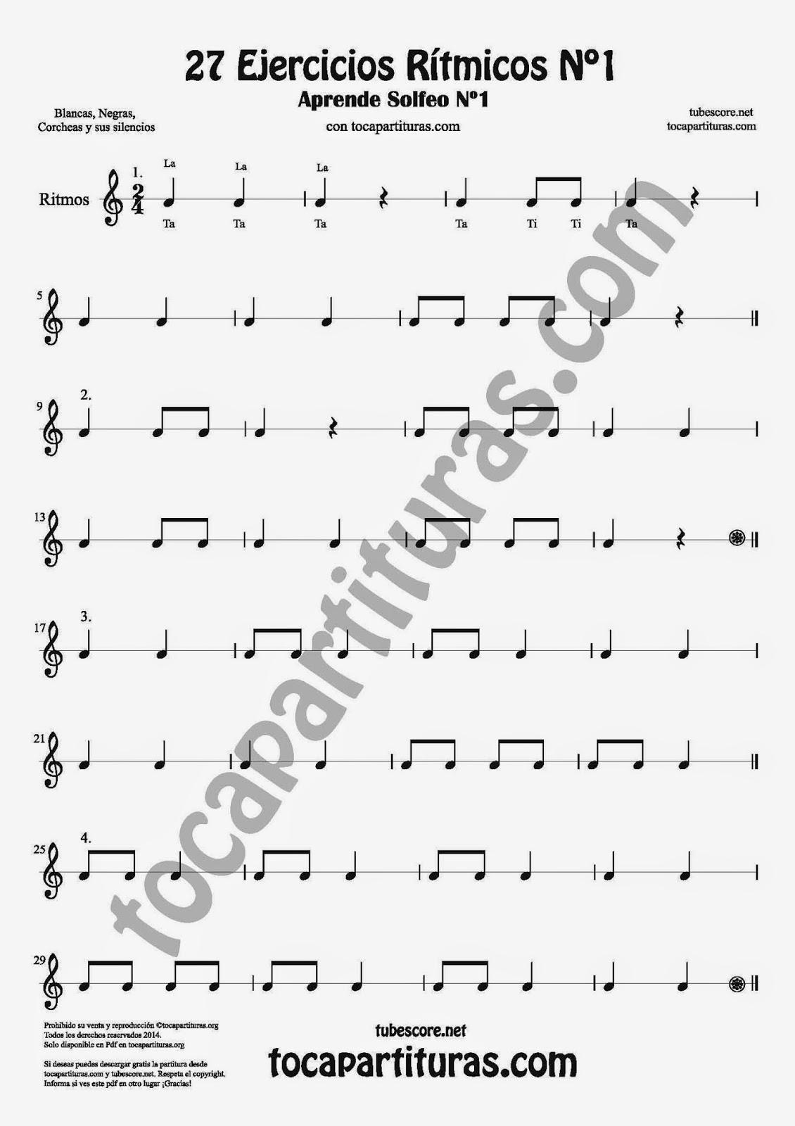 1 27 Ejercicios Rítmicos para Aprener Solfeo en el Compás de 2/4 Aprender negras, corcheas, blancas y sus silencios. Easy Rithm Sheet Music for quarter notes, half notes, 1/8 notes and silences