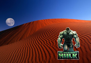 The Incredible Hulk Posters Wallpapers The Incredible Hulk The Movie Poster in the Red Moon Desert background