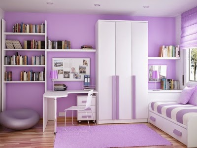Purple Elements Girl's Bedroom Interior Design
