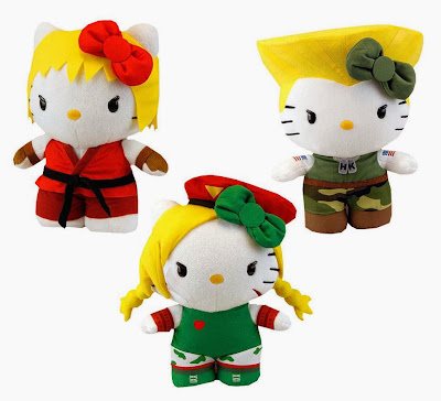 Sanrio x Street Fighter Hello Kitty Series 2 Plush Figures by Toynami - Ken, Guile & Cammy